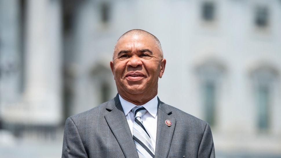 UNITED STATES - JUNE 25: Rep. William Lacy Clay, D-Mo., does a television news interview outside the Capitol before the vote on the George Floyd Justice in Policing Act of 2020 on Thursday, June 25, 2020.