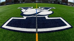 NEW HAVEN, CT - MARCH 16: General view of the Yale Bulldogs logo on the field at Reese Stadium prior to the game against the Cornell Big Red on March 16, 2019 in New Haven, Connecticut. Yale defeated Cornell 16-11. (Photo by Rich Barnes/Getty Images)
