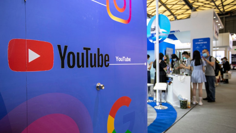 SHANGHAI, CHINA - JULY 31: A billboard advertisement for Youtube is seen during the 2020 China Digital Entertainment Expo & Conference (ChinaJoy) at Shanghai New International Expo Center on July 31, 2020 in Shanghai, China. (Photo by VCG/VCG via Getty Images)