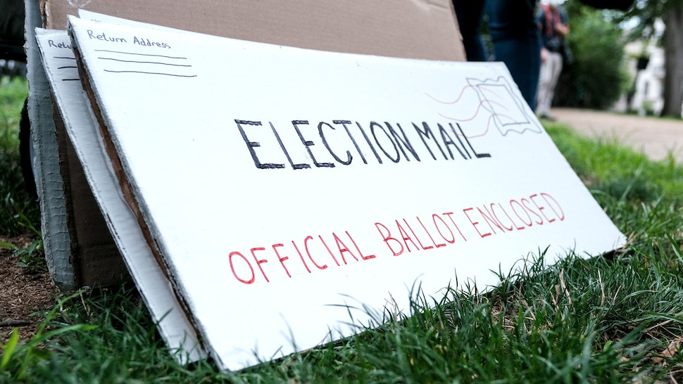 WASHINGTON, DC - AUGUST 15: Protest material that resemble mail-in election ballots are seen as demonstrators gather on Kalorama Park to protest President Donald Trump donor and current U.S. Postmaster General Louis Dejoy on August 15, 2020 in Washington, DC. The protests are in response to a recent statement by President Trump to withhold USPS funding that would ensure that the post office would be unable handle mail-in voting ballots for the upcoming 2020 Election.