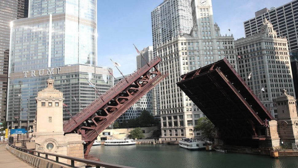 CHICAGO, ILLINOIS - AUGUST 10: Bridges that lead into the city were raised to limit access after widespread looting and vandalism took place, on August 10, 2020 in Chicago, Illinois. Police made several arrests during the night of unrest and recovered at least one firearm. (Photo by