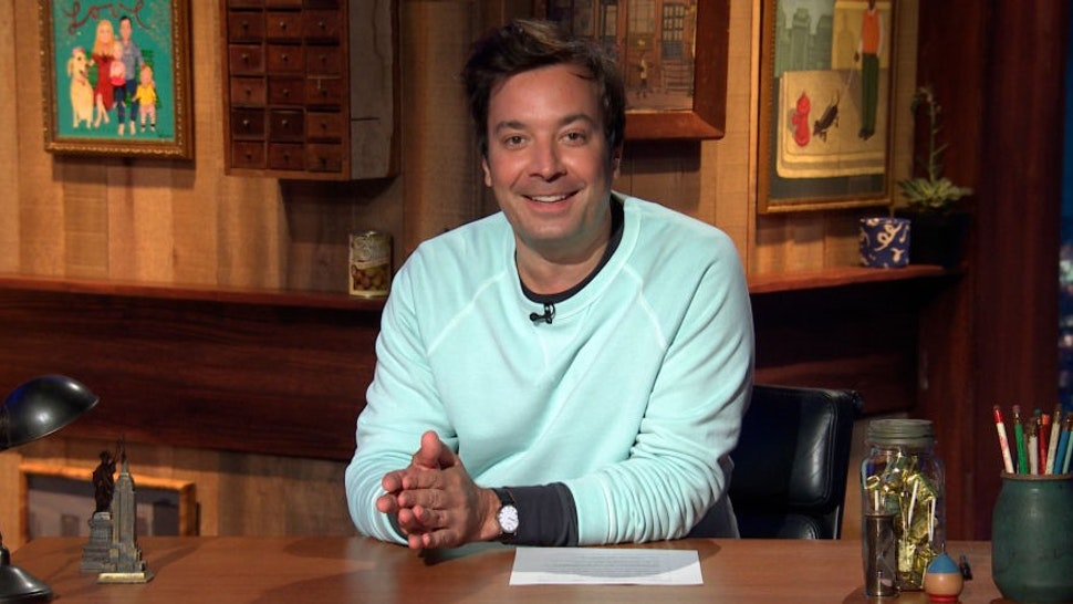 THE TONIGHT SHOW STARRING JIMMY FALLON -- Episode 1292A -- Pictured in this screengrab: Host Jimmy Fallon arrives at his desk on July 20, 2020 -- (Photo by: