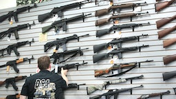 LAKE BARRINGTON, IL - JUNE 17: Guns built by DSA Inc and other manufacturers are displayed inside the DSA Inc. store on June 17, 2016 in Lake Barrington, Illinois. Earlier in the day the facility was the target of an anti gun protest. DSA Inc. manufactures FAL, AR-15 and RPD rifles.