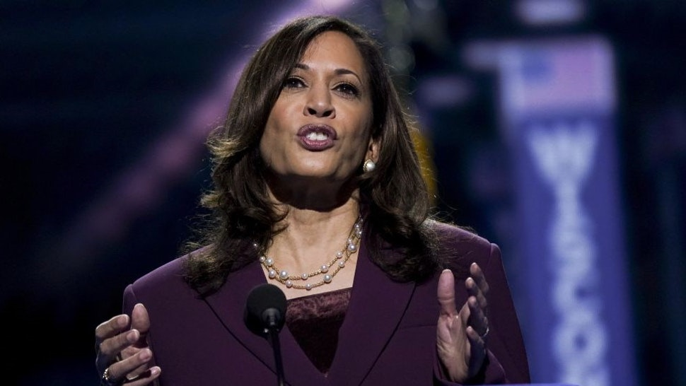 Senator Kamala Harris, Democratic vice presidential nominee, speaks during the Democratic National Convention at the Chase Center in Wilmington, Delaware, U.S., on Wednesday, Aug. 19, 2020. Harris's prime-time speech is the first glimpse of how Joe Biden's campaign plans to deploy a history-making vice presidential nominee for a campaign that has largely been grounded by the coronavirus. Photographer: