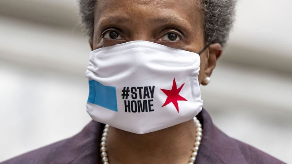 Chicago mayor Lori Lightfoot wears a mask as she prepares to speak about the city's coronavirus economic recovery plan on April 23, 2020.
