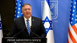 US Secretary of State Mike Pompeo speaks during a joint statement to the press with Israeli Prime Minister Benjamin Netanyahu (unseen) after meeting in Jerusalem, on August 24, 2020. - Pompeo arrived in Israel kicking off a five-day visit to the Middle East which will take him to Sudan, the United Arab Emirates, and Bahrain, focusing on Israel's normalising of ties with the UAE and pushing other Arab states to follow suit.