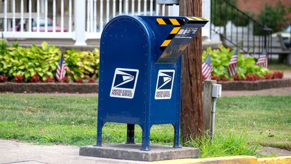 PENNSYLVANIA, UNITED STATES - 2020/08/15: A drive-up United States Postal Service (USPS) mailbox is in King Street Park in Northumberland, Pennsylvania. The USPS warned states in late July 2020 that it might not be able to deliver mail-in ballots in time to be counted.