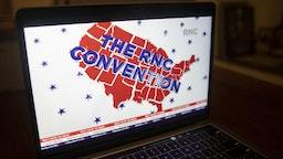 A logo is displayed at the start of the Republican National Convention seen on a laptop computer in Tiskilwa, Illinois, U.S., on Monday, Aug. 24, 2020. President Trump plans to appear nightly during the four-day convention, which after today will be staged mostly from Washington because of the coronavirus pandemic. Photographer: