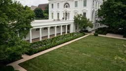 WASHINGTON, DC - AUGUST 22: A view of the recently renovated Rose Garden at the White House on August 22, 2020 in Washington, DC. The Rose Garden has been under renovation since last month and updates to the historic garden include a redesign of the plantings, new limestone walkways and technological updates to the space. (Photo by