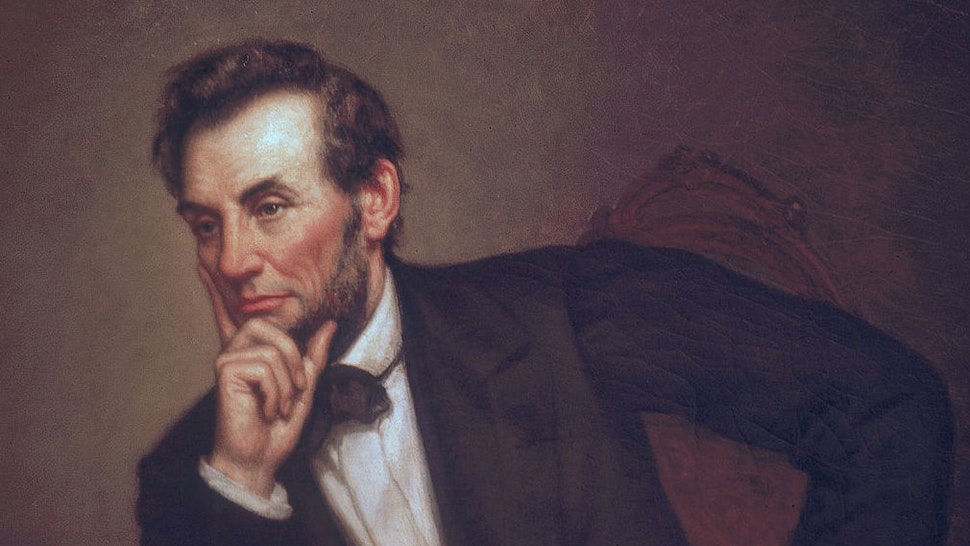 Portrait of American President Abraham Lincoln (1809 - 1865) (painted by George P. Healy, mid-late 1800s), Washington, DC, 1969. The portriat was one of three painted by Healy (sometimes spelled as Healey).