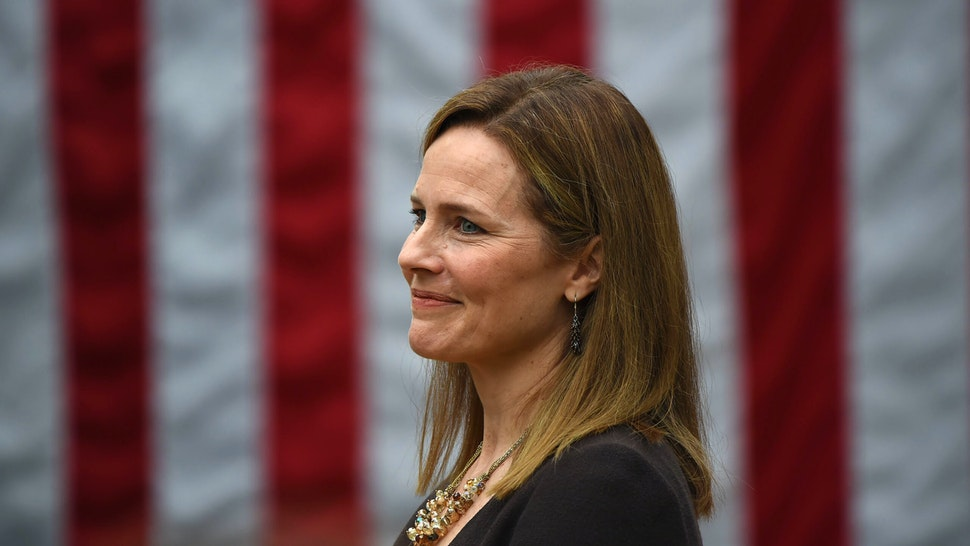 Judge Amy Coney Barrett is nominated to the US Supreme Court by President Donald Trump in the Rose Garden of the White House in Washington, DC on September 26, 2020. - Barrett, if confirmed by the US Senate, will replace Justice Ruth Bader Ginsburg, who died on September 18.