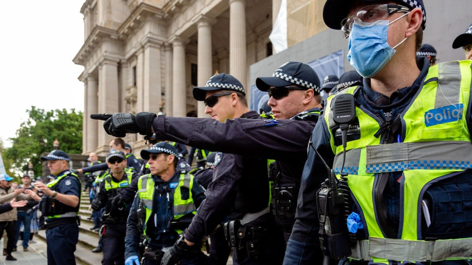 MELBOURNE, AUSTRALIA - MAY 10: Police and protesters violently clash during the Coronavirus (COVID-19) Anti-Lockdown Protest at Parliament House on 10 May, 2020 in Melbourne, Australia. (Photo by Speed Media/Icon Sportswire)