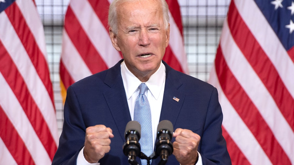 TOPSHOT - Democratic presidential nominee former US Vice President Joe Biden speaks during a campaign event at Mill 19 in Pittsburgh, Pennsylvania, August 31, 2020.