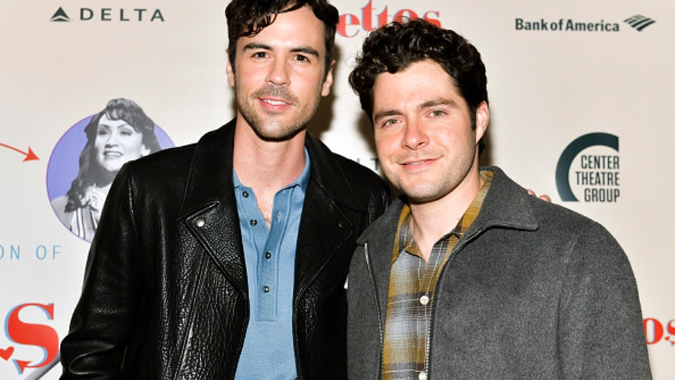 "LOS ANGELES, CALIFORNIA - APRIL 17: Blake Lee (L) and Ben Lewis attend the opening of Center Theatre Group's ""Falsettos"" at Ahmanson Theatre on April 17, 2019 in Los Angeles, California."