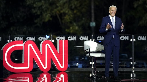 MOOSIC, PA - SEPTEMBER 17: Democratic presidential nominee and former Vice President Joe Biden participates in a CNN town hall event on September 17, 2020 in Moosic, Pennsylvania. Due to the coronavirus, the event is being held outside with audience members in their cars. Biden grew up nearby in Scranton, Pennsylvania.