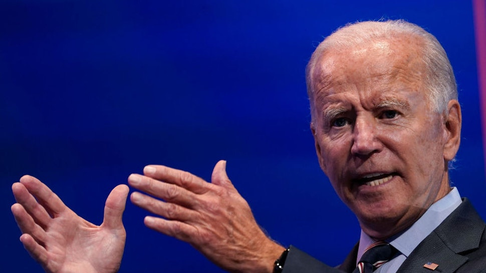 WILMINGTON, DE - SEPTEMBER 16: Democratic presidential nominee and former Vice President Joe Biden delivers remarks after a virtual coronavirus briefing with medical professionals on September 16, 2020 in Wilmington, Delaware.