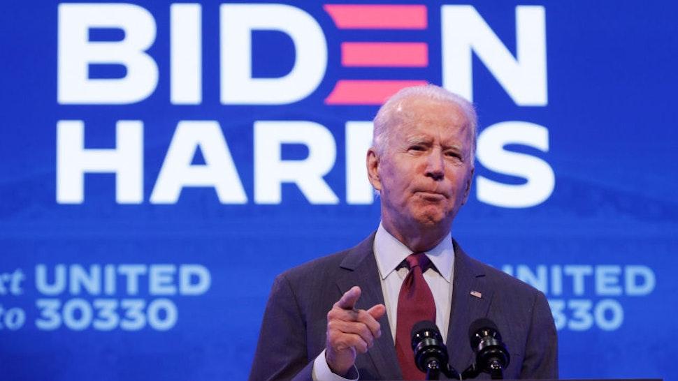 WILMINGTON, DELAWARE - SEPTEMBER 27: Democratic presidential nominee Joe Biden speaks during a campaign event on September 27, 2020 in Wilmington, Delaware. Biden spoke on President Trump's new U.S. Supreme Court nomination.
