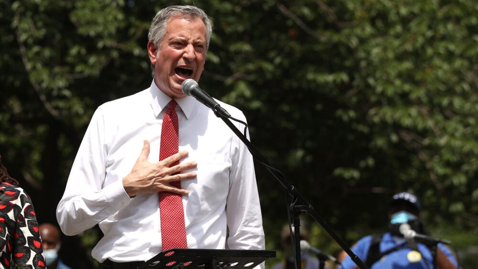 NEW YORK, NEW YORK - JUNE 04: New York Mayor Bill de Blasio speaks to an estimated 10,000 people as they gather in Brooklyn's Cadman Plaza Park for a memorial service for George Floyd, the man killed by a Minneapolis police officer on June 04, 2020 in New York City. Floyd's brother, Terrence, local politicians and civic and religious leaders also attended the event before marching over the Brooklyn Bridge.