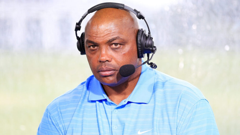 HOBE SOUND, FLORIDA - MAY 24: Charles Barkley commentates from the booth during The Match: Champions For Charity at Medalist Golf Club on May 24, 2020 in Hobe Sound, Florida.