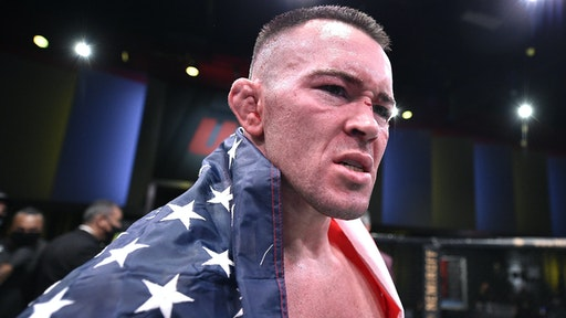 LAS VEGAS, NEVADA - SEPTEMBER 19: Colby Covington reacts after his TKO victory over Tyron Woodley in their welterweight bout during the UFC Fight Night event at UFC APEX on September 19, 2020 in Las Vegas, Nevada.