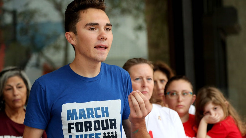 Parkland survivor David Hogg speaks during a news conference at the Broward County Government Center in Fort Lauderdale on Monday, Feb. 11, 2019, following the submission of 200 petitions to the Broward County Supervisor of Elections office as part of a ballot initiative to put on the 2020 election ballot a ban on the sale of military-grade weapons. (Amy Beth Bennett/South Florida Sun Sentinel/TNS)