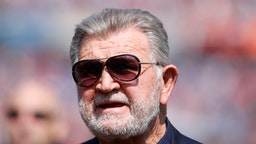 CHICAGO, IL - SEPTEMBER 10: Former Chicago Bears head coach Mike Ditka walks the sidelines during the game between the Chicago Bears and the Atlanta Falcons at Soldier Field on September 10, 2017 in Chicago, Illinois.