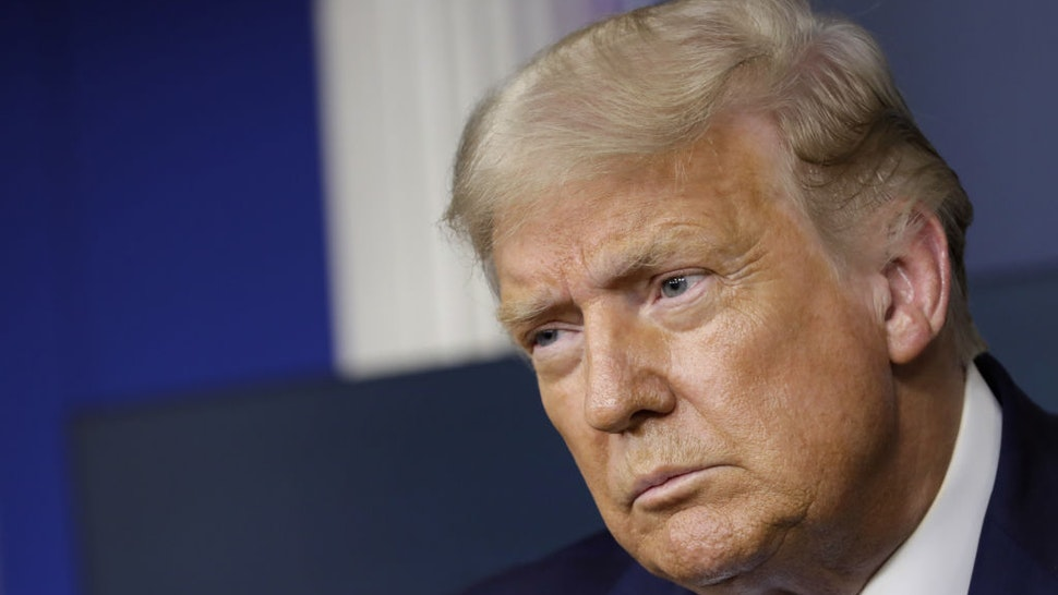 U.S. President Donald Trump listens during a news conference in the James S. Brady Press Briefing Room at the White House in Washington, D.C., U.S., on Wednesday, Sept. 23, 2020. Senate Republicans are developing plans to begin confirmation hearings around Oct. 12 for Trump's pick to replace the late JusticeRuth Bader Ginsburgon the Supreme Court, setting up a bitter partisan fight over the nomination before the November election. Photographer: Yuri Gripas/Abaca/Bloomberg via Getty Images