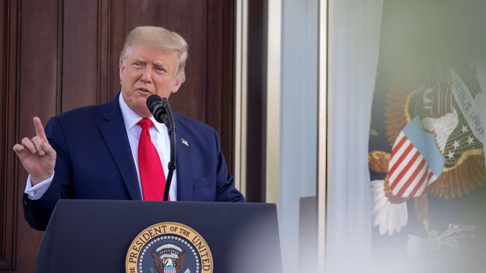 U.S. President Donald Trump takes questions after delivering remarks during a news conference at the North Portico at the White House on September 07, 2020 in Washington, DC. After media reports this past week that recounted Trump allegedly disparaging fallen soldiers, the president today attacked Democratic rival Joe Biden as inadequate to the job as polls continue show Biden leading nationwide, though with a gap that appears to be narrowing. (Photo by Tasos Katopodis/Getty Images)