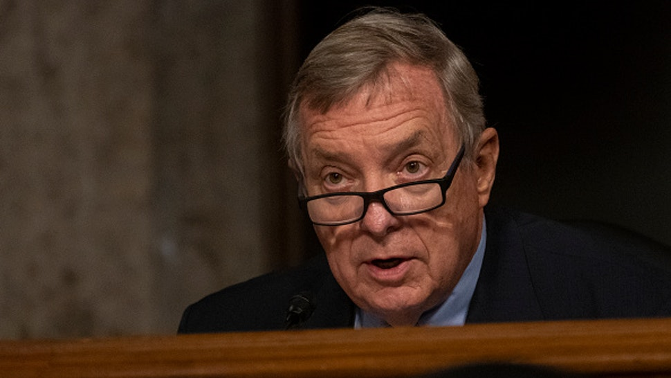 "WASHINGTON, DC - AUGUST 05: Sen. Richard Durbin, (D-IL)., speaks during a Senate Judiciary Committee hearing on ""Oversight of the Crossfire Hurricane Investigation"" on Capitol Hill on August 5, 2020 in Washington, DC. Crossfire Hurricane was an FBI counterintelligence investigation relating to contacts between Russian officials and associates of Donald Trump"