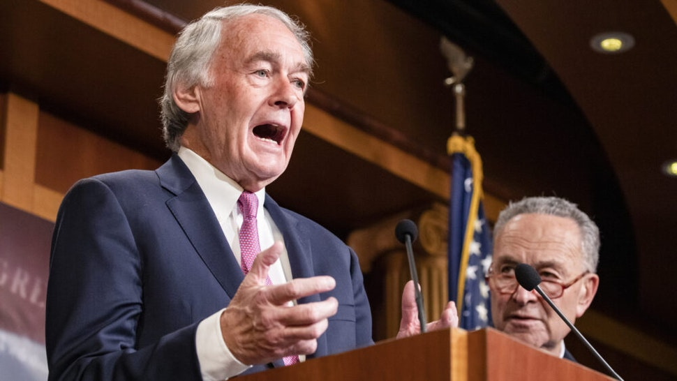 WASHINGTON, DC - JANUARY 24: Senator Ed Markey (D-MA) speaks during a press conference on the Senate impeachment trial of President Donald Trump on January 24, 2020 in Washington, DC. Democratic House managers conclude their opening arguments on Friday as the Senate impeachment trial of President Donald Trump continues into its fourth day.