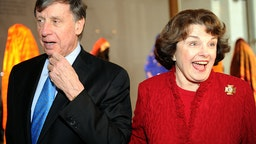 Sen. Dianne Feinstein with her husband, Richard Blum, arrives at the Kennedy Center.