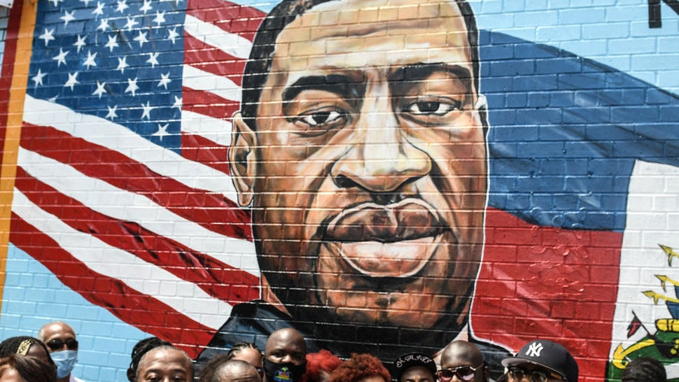 NEW YORK, NY - JULY 13: Terrance Floyd (R), the brother of George Floyd, attends a unveiling of a mural painted by artist Kenny Altidor depicting George Floyd on a sidewall of CTown Supermarket on July 13, 2020 in the Brooklyn borough New York City. George Floyd was killed by a white police officer in Minneapolis and his death has sparked a national reckoning about race and policing in the United States. (Photo by Stephanie Keith/Getty Images)