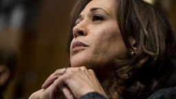 Sen. Kamala Harris, D-Calif., listens to Christine Blasey Ford testify during the Senate Judiciary Committee hearing on the nomination of Brett M. Kavanaugh to be an associate justice of the Supreme Court of the United States, on Capitol Hill September 27, 2018 in Washington, DC. A professor at Palo Alto University and a research psychologist at the Stanford University School of Medicine, Ford has accused Supreme Court nominee Judge Brett Kavanaugh of sexually assaulting her during a party in 1982 when they were high school students in suburban Maryland.