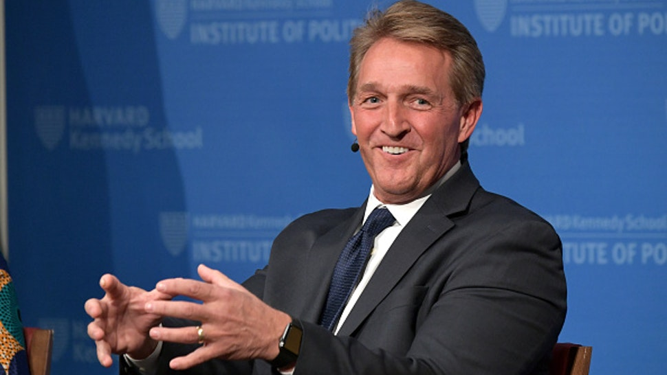 CAMBRIDGE, MA - MARCH 01: Former Arizona Senator Jeff Flake speaks at the Harvard Kennedy School of Government in a program titled 'Strengthening Democratic Institutions' at Harvard University on March 1, 2019 in Cambridge, Massachusetts.