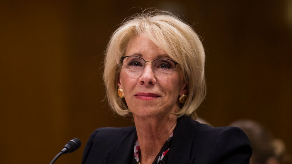 U.S. Secretary of Education Betsy DeVos testifies during a Senate Labor, Health and Human Services, Education and Related Agencies Subcommittee discussing proposed budget estimates and justification for FY2020 for the Education Department on March 28, 2019 in Washington, DC.