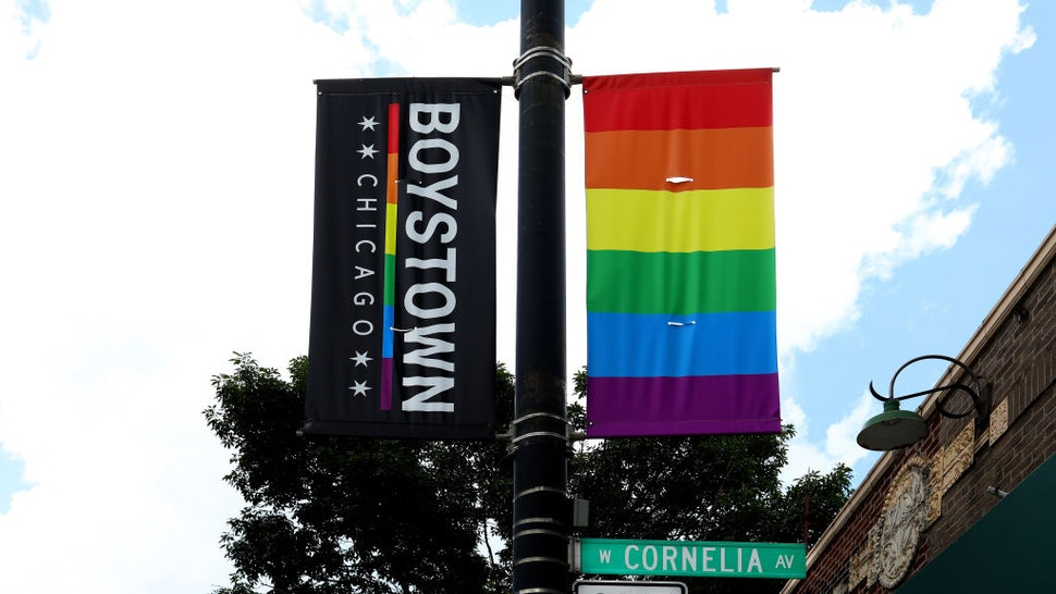 CHICAGO - JULY 13: A Boystown Chicago banner hangs along Cornelia Avenue in the Boystown Lakeview neighborhood in Chicago, Illinois on July 13, 2019. (Photo By Raymond Boyd/Getty Images)