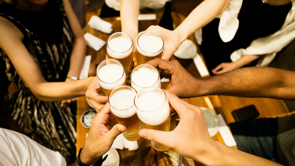 Toasting people - stock photo