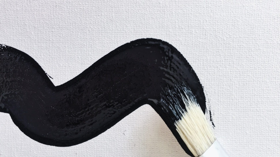 Close-Up Of Brush Stroke On Paper - stock photo