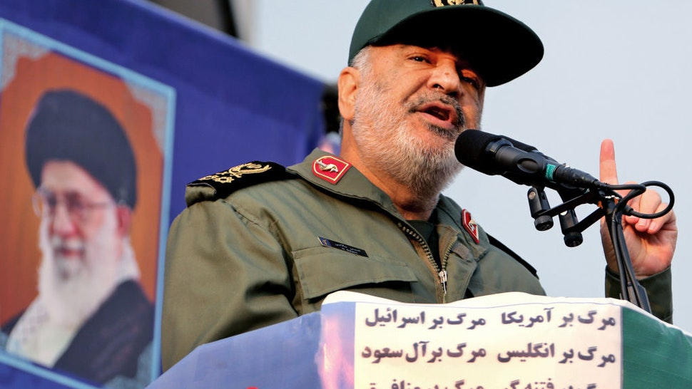 Iranian Revolutionary Guards commander Major General Hossein Salami speaks during a pro-government rally in the capital Tehran's central Enghelab Square on November 25, 2019.