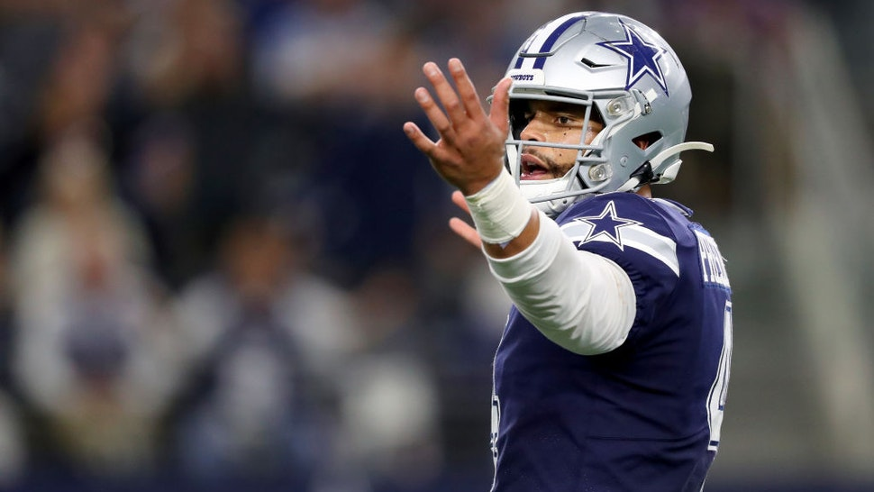 Dak Prescott #4 of the Dallas Cowboys reacts after throwing an incomplete pass against the Minnesota Vikings in the fourth quarter at AT&T Stadium on November 10, 2019 in Arlington, Texas.