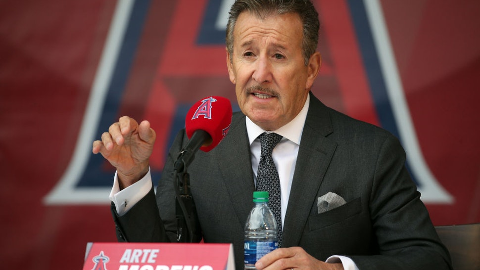 Los Angeles Angels owner Arte Moreno answers questions during a press conference to introduce Anthony Rendon at Angel Stadium of Anaheim on December 14, 2019 in Anaheim, CA.