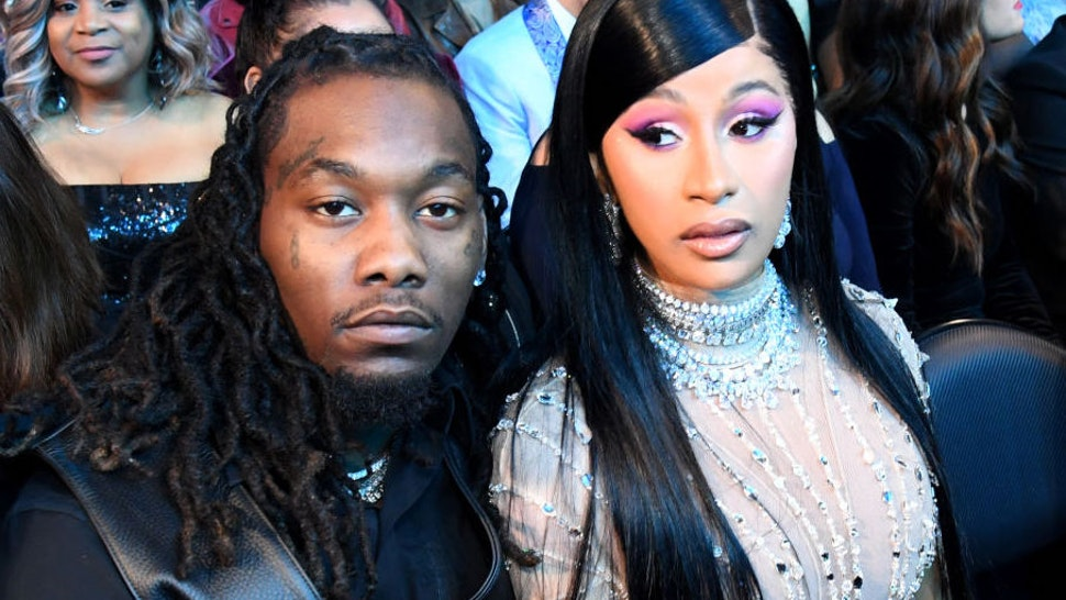 Offset (L) and Cardi B during the 62nd Annual GRAMMY Awards at STAPLES Center on January 26, 2020 in Los Angeles, California