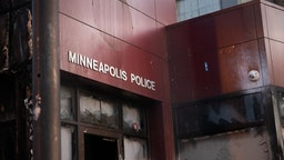 The 3rd Precinct Police Station was abandoned by police and protestors took destroying it and raiding it after one of Minneapolis' police officers killed an African-American man named George Floyd in Minneapolis, United States, on May 29, 2020. Protests continued following the death of George Floyd, who died after being restrained by Minneapolis police officers on Memorial Day. (Photo by Zach D Roberts/NurPhoto via Getty Images)