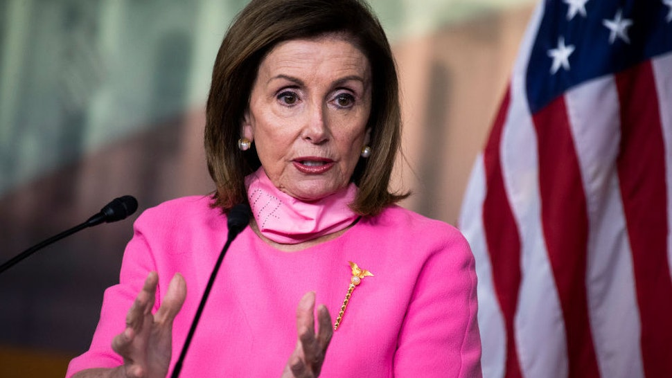 Speaker of the House Nancy Pelosi, D-Calif., conducts a news conference in the Capitol Visitor Center on Thursday, June 4, 2020.