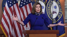 US House Speaker Nancy Pelosi hold a weekly press conference today on August 27, 2020 at HVC / Capitol Hill in Washington DC, USA.