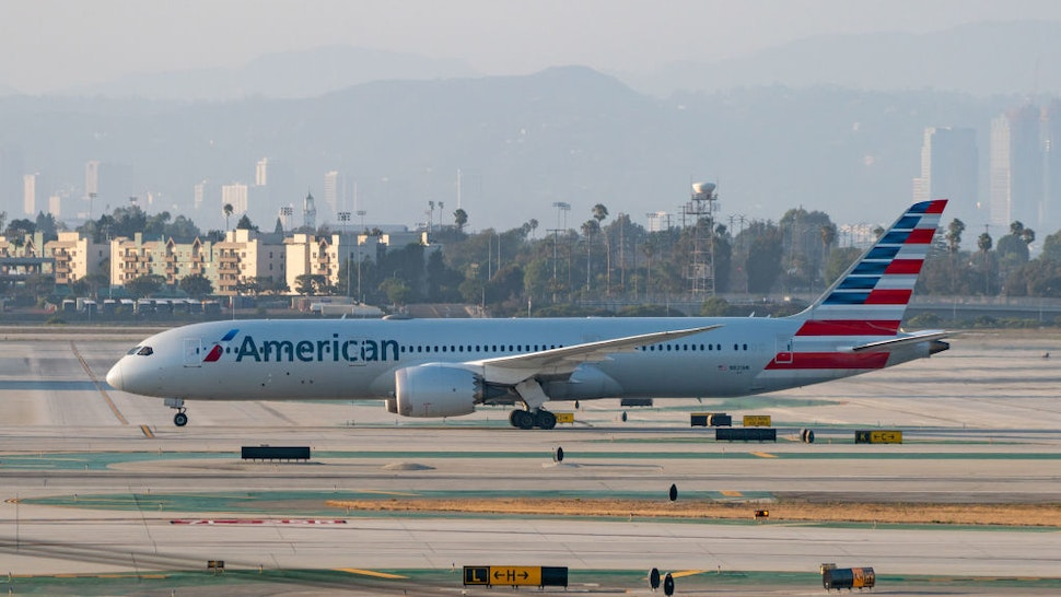 American Airlines Boeing 787 takes off from Los Angeles international Airport on August 27, 2020 in Los Angeles, California.