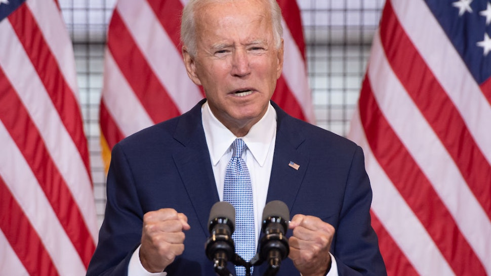 Democratic presidential nominee former US Vice President Joe Biden speaks during a campaign event at Mill 19 in Pittsburgh, Pennsylvania, August 31, 2020.