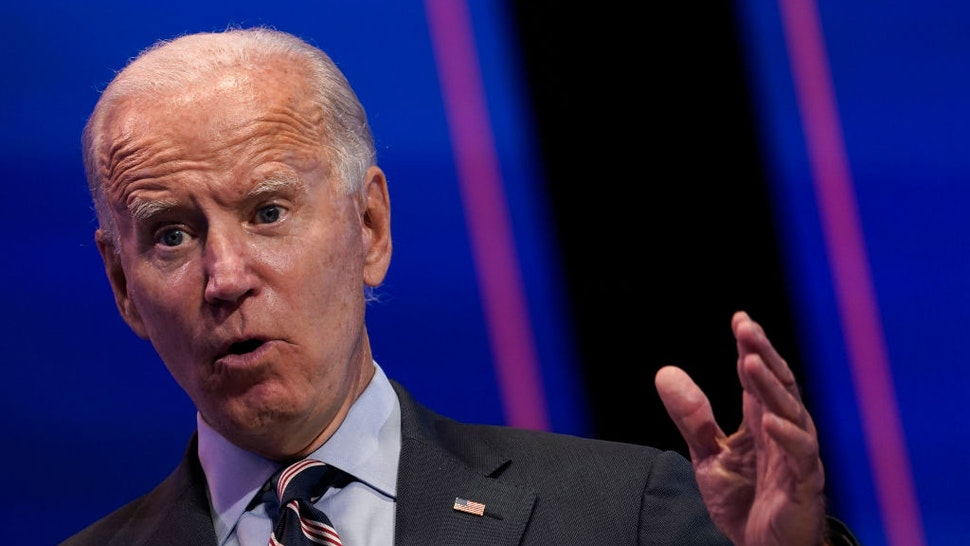 Democratic presidential nominee and former Vice President Joe Biden takes questions from reporters after a virtual coronavirus briefing with medical professionals on September 16, 2020 in Wilmington, Delaware.