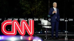 Democratic presidential nominee and former Vice President Joe Biden participates in a CNN town hall event on September 17, 2020 in Moosic, Pennsylvania.