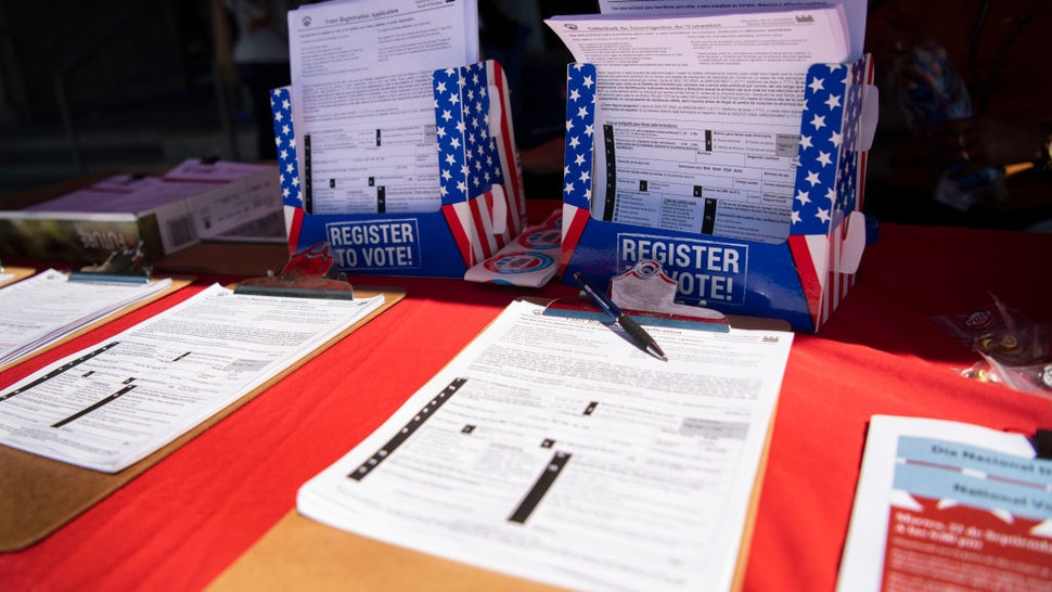 The DC Board of Elections hosts the event Vote Safe DC campaign that encourages residents to utilize voter mail-in ballots for the upcoming elections in response to the coronavirus outbreak, outside of The Anthem in Washington on Monday, Sept. 21, 2020.